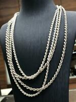925 Sterling Genuine Silver Solid Mens Ladies Rope Chain Bracelet Necklace 4mm