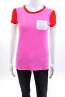 Kate Spade New York Womens Color Block Tee Shirt Pink Red White Cotton Size XS