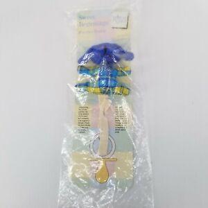 Pacifier Clip RUSS Sweet Beginnings Buddy Plush Blue Dog NIP Sealed Package
