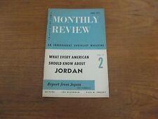 1957 Monthly Review Kingdom of Jordan, Japan, Scott Nearing, Barrows Dunham