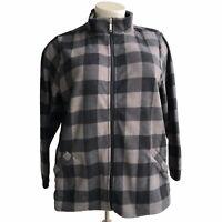 DENIM CO. Plus Size 3X Grey Printed Fleece Zip Front Pocket Long Sleeve Jacket