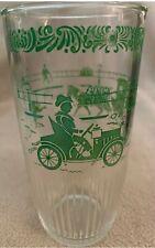 Vintage HAZEL ATLAS 1 Pint Sour Cream Glass  Tumbler 16 oz Green Transportation