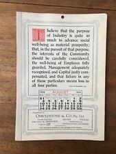 ANTIQUE AUGUST 1919 CALENDAR OSBOLDSTONE & CO MELBOURNE PRINTER J.D.ROCKEFELLER