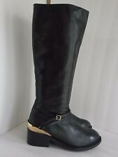 TOPSHOP knee high fashion boots, black with gold trim SZ 39