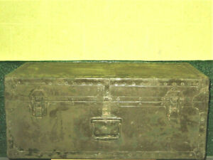 Vintage US ARMY Military Wood Foot Locker Trunk Chest Green