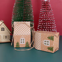 5pcs House Shape Gift Bags Christmas Candy Box Kraft Paper Cookies Pouch