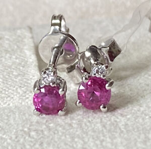 Pair White Gold Earrings 18 Carats with Natural Diamonds And Rubies Myanmar