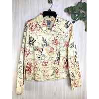 Sigrid Olsen Quilted Silk Blazer Jacket Women's Size 10 Gold, Pink, Black