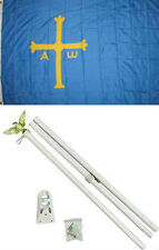 3x5 Asturias Spain Victory Cross Flag White Pole Kit Set 3'x5'
