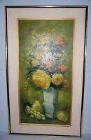 "Vintage Framed Floral Still Life Oil Painting on Canvas Signed 36.5"" x 21.5"""