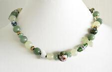 JADE Chalcedony AGATE Adventurine Dichroic Porcelain Cloisonne Beads NECKLACE 19