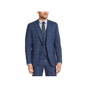 Alfani Men's Slim-Fit Stretch Two Button Front Plaid Suit Jacket (Navy Blue 44S)
