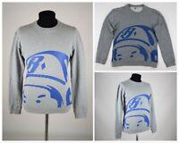 Men's BILLIONAIRE BOYS CLUB Big Logo BBC Print Crew Neck Sweatshirt Gray Size M