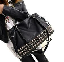 Womens PU Leather Stud Tote Shopping Fashion Rivet Shoulder Crossbody Bags Large
