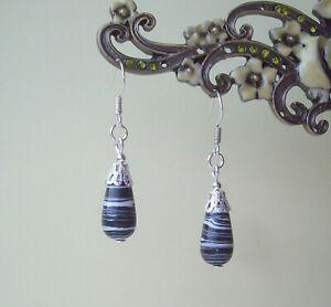 Black and White Zebra Agate Stone Teardrop Dangly Drop Earrings in Gift Bag