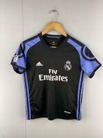 Adidas Womens Black V Neck Official Real Madrid Ronaldo Jersey Shirt Size 28