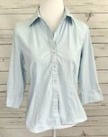 Kim Rogers Top Womens Medium M Blue Striped Button 3/4 Sleeve Collared Cotton