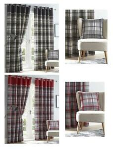 Lined curtains tartan check eyelet ring top curtains red & grey or charcoal & ta