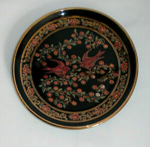 Vintage Greek swallows  Hand  Painted  Plate 24k Gold Anapale