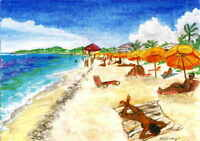 "2015 Saint Martin Reproduction Print of Watercolor Painting 5x7/"" Club Orient"