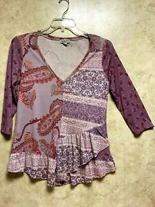 Women's One World Top/Blouse BOHO Layered Top (Size PM)~Multi Color NWOT