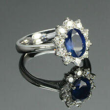 2.00 Ct Sapphire Diamond Anniversary Halo Ring Oval Cut 14K White Gold Over Ring