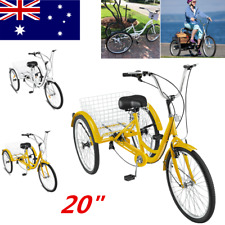 "Three Wheel Adult Tricycle Trike Single 7 Speed Large Basket 20"" Men Women Bike"