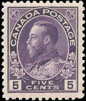 Mint H Canada 5c 1922 F-VF Scott #112ii King George V Admiral Issue Stamp