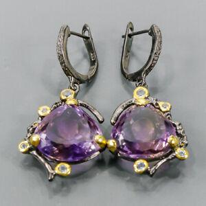 16x17mm Handmade SET Ametrine Earrings Silver 925 Sterling   /E57459