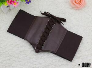 New Women's Vintage Stretchy Faux Leather Wide Waist Brown Belt Corset Brown