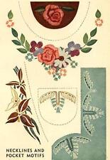 Vintage Embroidery Transfer repo 7152 Flowers for Necklines Pockets on Blouses