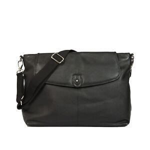 Large Quality Real Leather Black Bag Satchel / Baby Changing Bag Maternity Bag