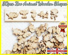 50 Wooden Zoo Animals shapes Craft Scrapbooking MDF Wood gift Embellishments