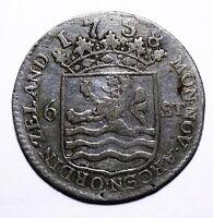 """1758 Dutch Republic (Zeeland) Six 6 Stuivers """"Scheepjesschelling"""" - Lot 800"""