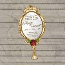 Beauty and the Beast Wedding Save The Date / Die Cut Hand Mirror PRINTED