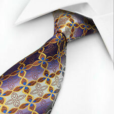 Purple Designer Hand Woven 100% Pure Silk Tie Orange & Brown Pattern By Kai Long