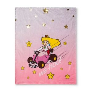Nintendo Mario Kart Princess Peach Racer Throw Micromink Blanket Bedding Kids