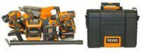 (RI5) Ridgid 18V Lithium-Ion Cordless 6pc Tool Combo Kit & Gear Cart Tool Box