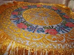 Uniquely Beautiful HAND-MADE MULTICOLOR TABLE COVER Hand-Embroidered