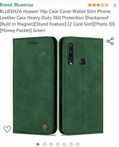 6. BLUEENZA Heavy Duty Leather Mobile Phone Case For Huawei Y6P in Green