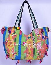 Ethnic Vintage Kantha Quilted Bag Banjara Boho Bag Pom Pom Lace Work Women's Bag