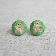 Gingerbread Man Fabric Button Earrings