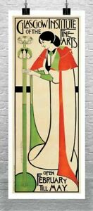 Glasgow Institute of the Fine Arts Vintage Poster Giclee Print Canvas or Paper
