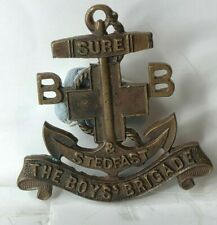 More details for 1930's boys brigade sure & steadfast bronze anchor officers collar  badge