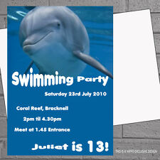 Personalised Dolphin Pool Swimming Kids Birthday Party Invitations x12 H0414