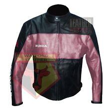 HONDA 5525 PINK BLACK MOTORBIKE COWHIDE LEATHER MOTORCYCLE ARMOURED JACKET