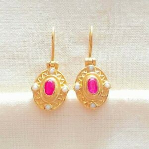 Spectacular Ruby & Pearl 14K Gold Vermeil Over Sterling Silver Earring