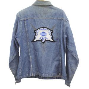 J3 Vintage Harley Davidson Motorcycle Denim Jean Jacket Patches Embroidered Logo
