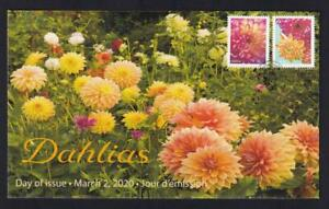 Canada limited edition private FDC, 2020 Dahlias, 'P' pair from booklet