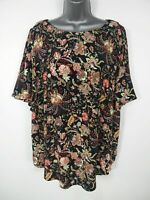 BNWT WOMENS H&M BLACK PINK MULTI FLORAL SHORT SLEEVE SMART SUMMER BLOUSE UK 20